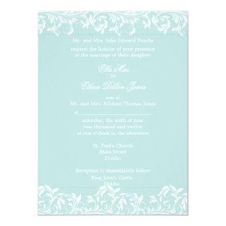 The Sarah Jane blue and  white wedding invitation