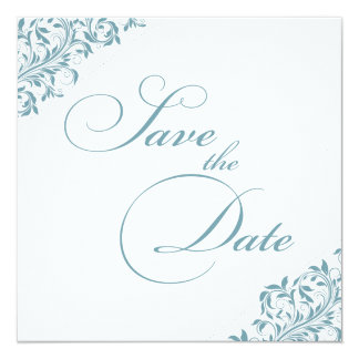 The Sarah Jane Blue/Green and white Save the Date Card