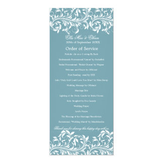 The Sarah Jane Blue & white Order of Service Card