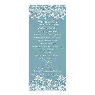 The Sarah Jane Blue & white Order of Service Custom Invitations