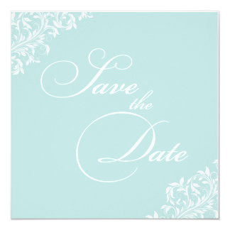 The Sarah Jane light blue and white Save the Date Card
