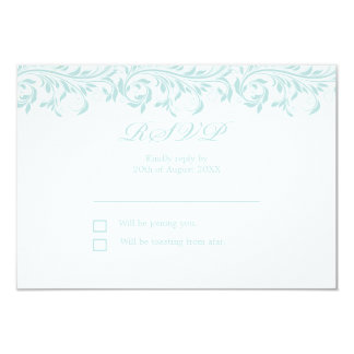 The Sarah Jane light Blue and white wedding RSVP Card