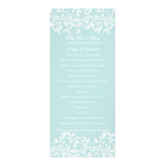 The Sarah Jane light blue & white Order of Service Personalized Announcements