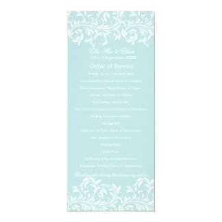 The Sarah Jane light blue & white Order of Service 4x9.25 Paper Invitation Card