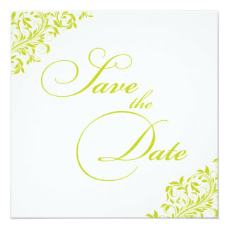 The Sarah Jane lime green and white Save the Date Card