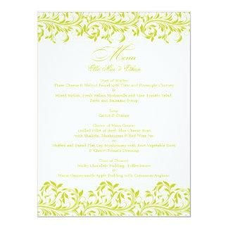 The Sarah Jane lime green and white wedding menu Card