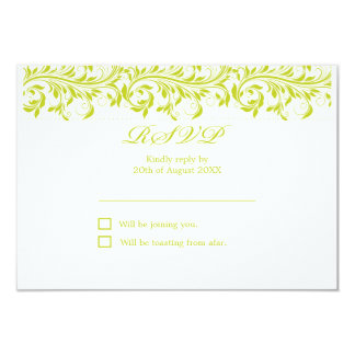 The Sarah Jane lime green and white wedding RSVP Card