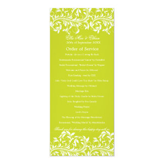 The Sarah Jane lime green & white Order of Service Card