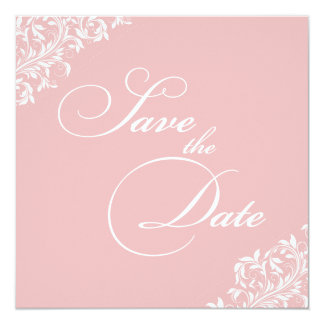 The Sarah Jane soft pink and white Save the Date Card