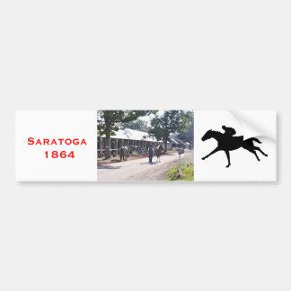 The Saratoga backstretch on opening day Bumper Sticker
