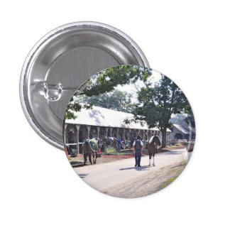 The Saratoga backstretch on opening day Pinback Button