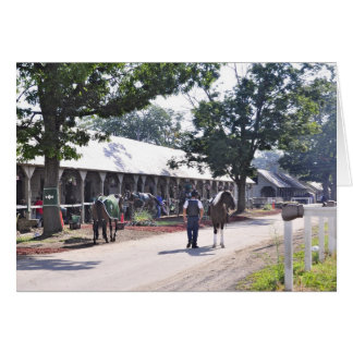 The Saratoga backstretch on opening day Card