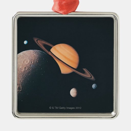 The Saturnian System Metal Ornament