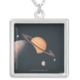 The Saturnian System Silver Plated Necklace