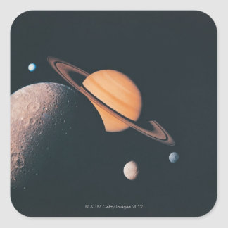 The Saturnian System Square Sticker