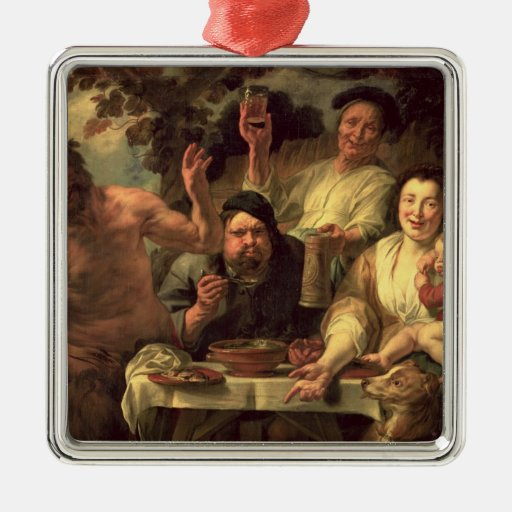 The Satyr and the Peasants Square Metal Christmas Ornament