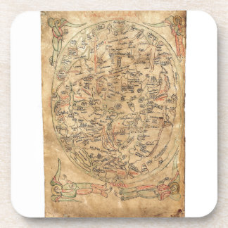 The Sawley Map Imago Mundi Honorius Augustodunensi Drink Coaster