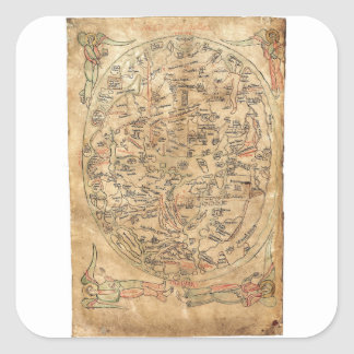 The Sawley Map Imago Mundi Honorius Augustodunensi Square Sticker