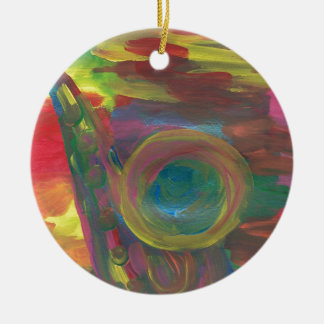 """The Sax"" Inspiration was New Orleans Jazz Double-Sided Ceramic Round Christmas Ornament"