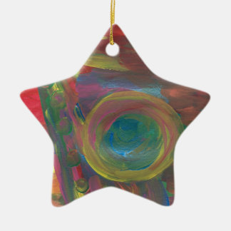 """The Sax"" Inspiration was New Orleans Jazz Double-Sided Star Ceramic Christmas Ornament"