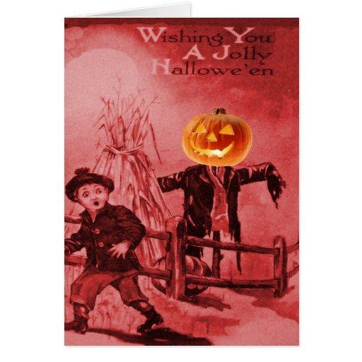 The Scarecrow Jack O Lantern Pumpkin Greeting Card
