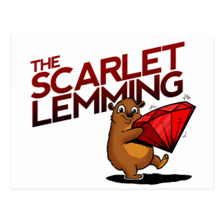 The Scarlet Lemming (with title) postcard