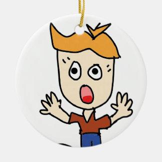 the scary boy cartoon ceramic ornament