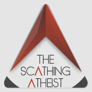 The Scathing Atheist Triangle Sticker