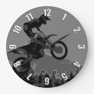 """""""The Scenic Route"""" Motocross Racer Large Clock"""
