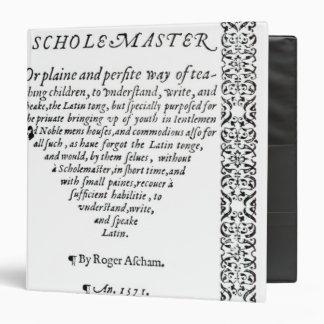 The Scholemaster' by Roger Ascham Binders