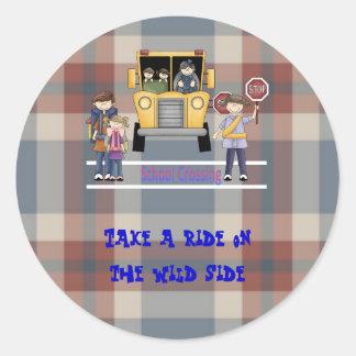 The School Crossing Classic Round Sticker