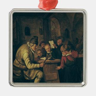 The School Master, 1626-79 Square Metal Christmas Ornament
