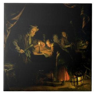 The School Master, 1660-65 (oil on panel) Tile