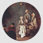 The School Of Labor By Longhi Pietro (Best Quality Round Sticker