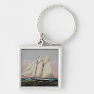 The Schooner Silver-Colored Square Keychain