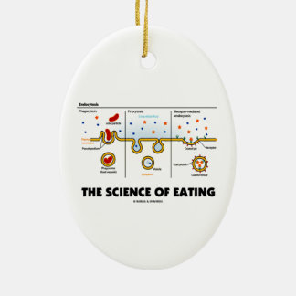 The Science Of Eating (Endocytosis Biology Humor) Double-Sided Oval Ceramic Christmas Ornament