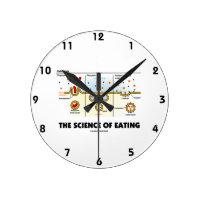 The Science Of Eating (Endocytosis Biology Humor) Round Clocks