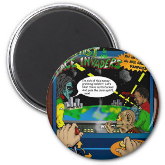 The Scientist And The Spaceinvaders Buttons 2 Inch Round Magnet