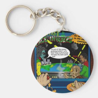 The Scientist And The Spaceinvaders Key Chane Basic Round Button Keychain
