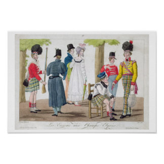 The Scottish on the Champs Elysees, engraved by Ju Poster