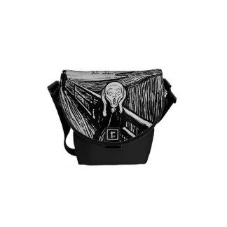 The Scream ~ Black White Lithograph Edvard Munch Messenger Bag