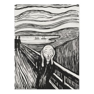 The Scream by Edvard Munch Black and White Postcard
