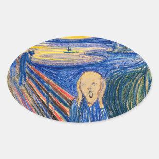 The Scream by Edvard Munch (in pastel) Modern Art Oval Sticker
