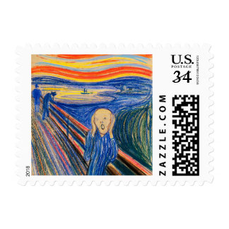 The Scream by Edvard Munch (pastels) Postage Stamp