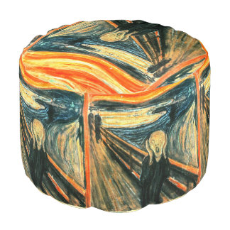 The Scream by Edvard Munch Round Pouf