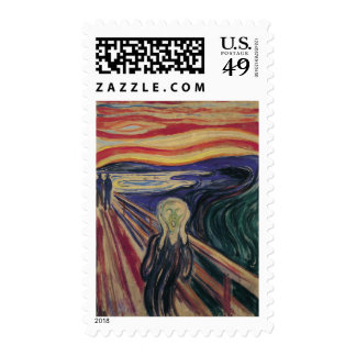 The Scream by Edvard Munch, Vintage Expressionism Stamps