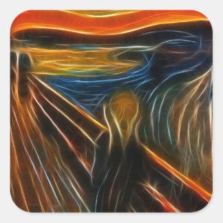 The Scream Fractal Painting Edvard Munch Square Sticker