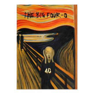 The Scream - Funny 40th Birthday 5x7 Paper Invitation Card