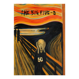 The Scream - Funny 50th Birthday Personalized Announcements