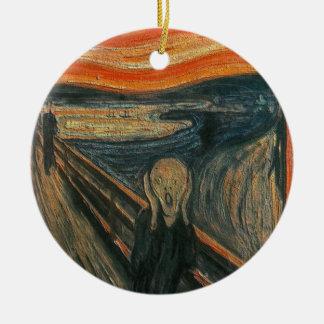 The Scream (Textured) by Edvard Munch Ceramic Ornament